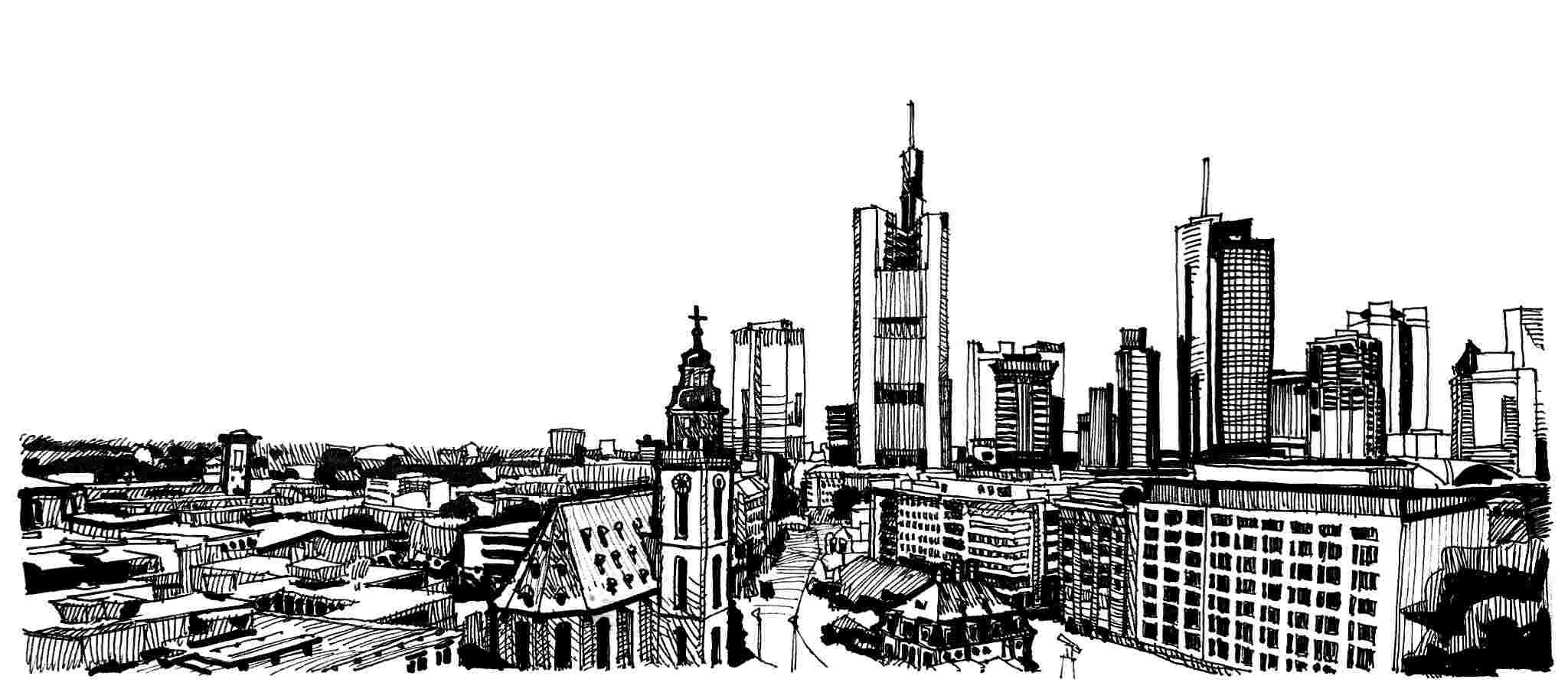 Schwarz-weiß Zeichnung von der Frankfurter Skyline - Kanzlei für Markenrecht, Wettbewerbsrecht und Urheberrecht
