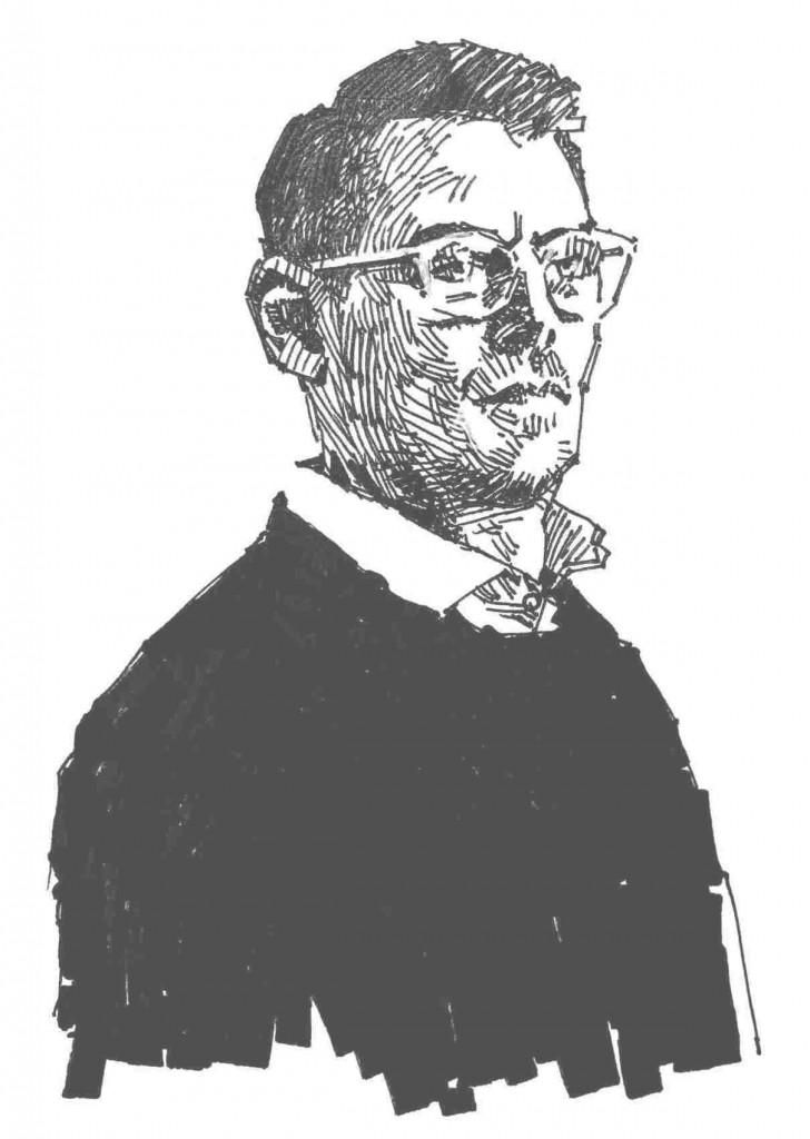 Schwarz-weiß Zeichnung von Rechtsanwalt Brehm aus Frankfurt