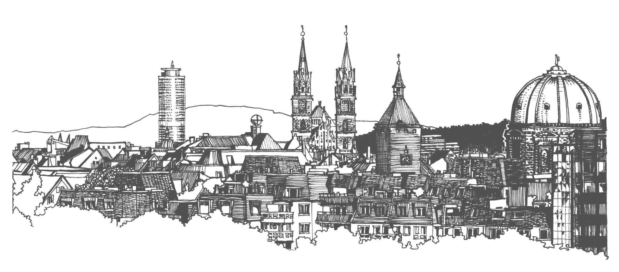 Schwarz-weiß Zeichnung von der Nürnberger Skyline - Kanzlei für Markenrecht, Wettbewerbsrecht und Urheberrecht